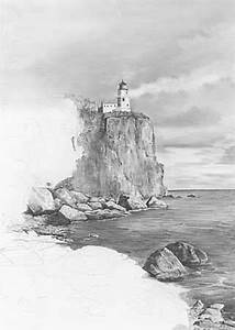 Learn How to Draw a Lighthouse Landscape - Split Rock