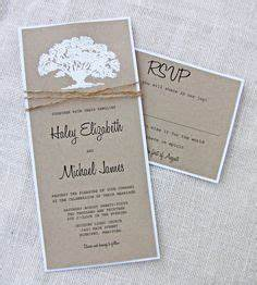 oak tree white embossed rustic twine kraft wedding invitation With embossed tree wedding invitations