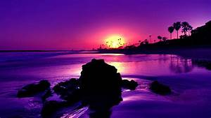 Beach, Under, Purple, Sky, During, Sunset, Hd, Nature, Wallpapers