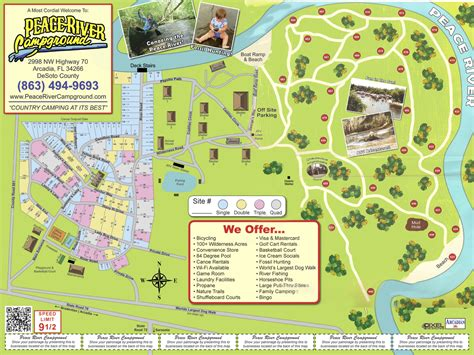 arcadia peace river campground map fl park campgrounds maps roverpass