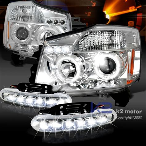 nissan titan led lights chrome halo projector headlights led daytime lights fog