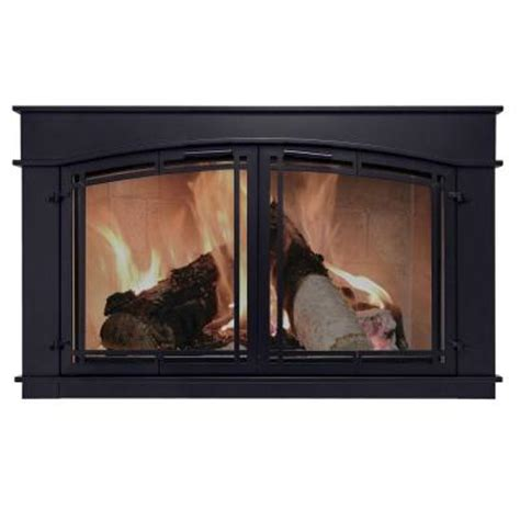 Pleasant Hearth Fieldcrest Large Glass Fireplace Doorsfc