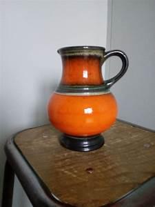 Vase En Céramique : pichet vase en c ramique fa ence maill e orange ~ Teatrodelosmanantiales.com Idées de Décoration