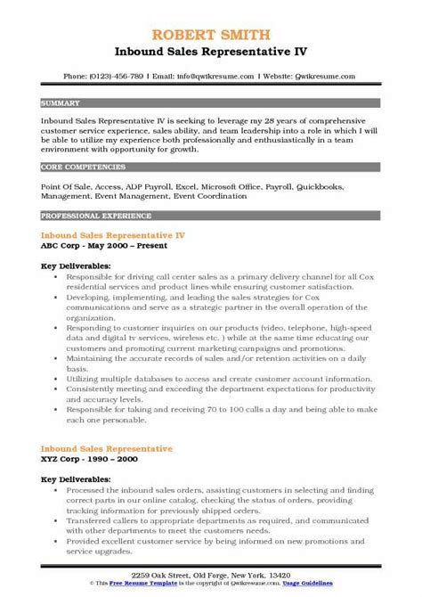 inbound sales representative resume sles qwikresume
