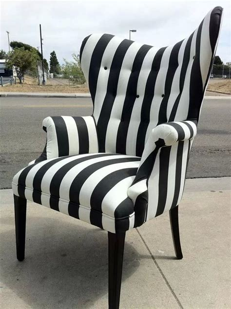 black and white striped accent chair 301 moved