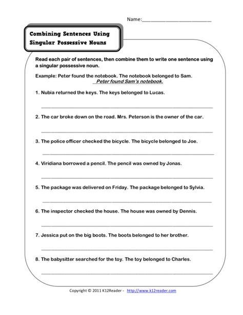 combining sentences using singular possessive nouns
