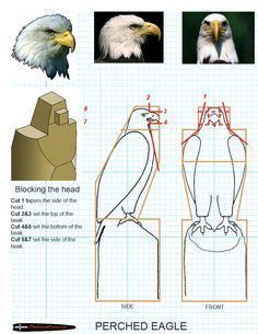 chainsaw carving patterns  preched eagle  https