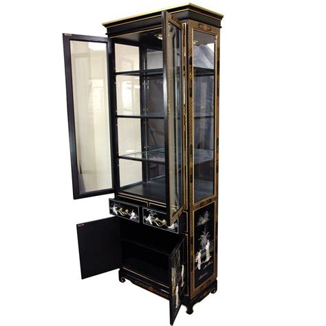 black curio cabinet tall lacquer curio cabinet black mother of pearl ladies orientalfurniture com