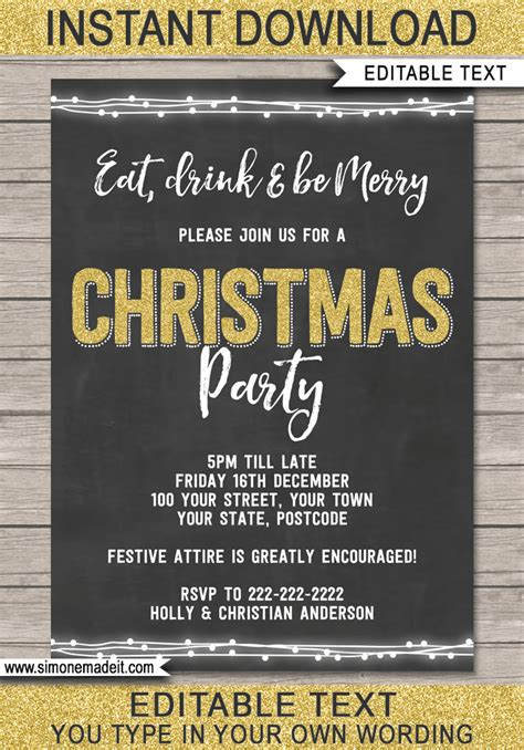 Editable Christmas Party Invitations Christmas Printable