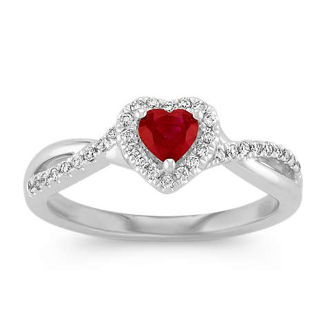 heart shaped ruby and diamond swirl ring shane co