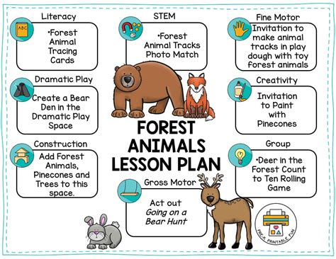 forest animals pre  printable fun