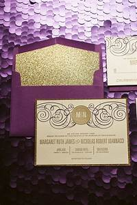 purple gold glitter wedding invitation gold glitter wedding With purple and gold wedding invitations set