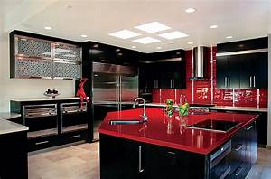 red black and white interiors living rooms kitchens With black and red kitchen designs