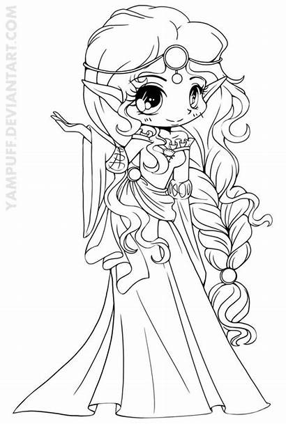 Coloring Elf Princess Yampuff Lineart Drawing Easy