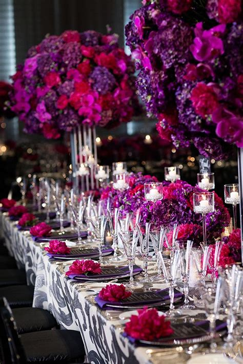 fuchsia wedding table decorations vibrant purple and fuchsia floral arrangements with modern
