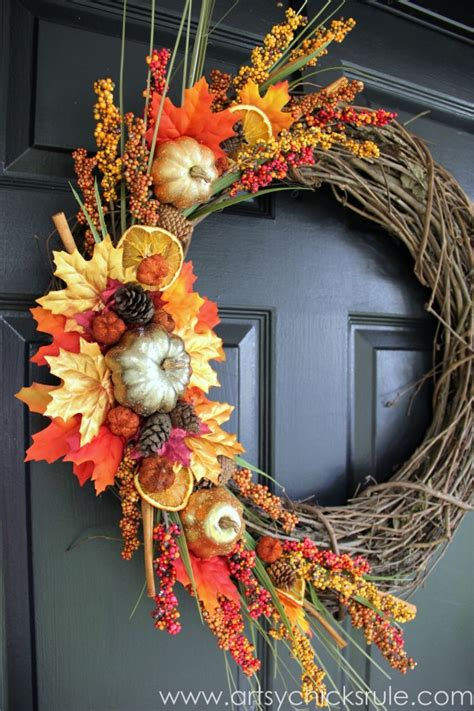 fall door wreaths to make using leaves for fall decorating what meegan makes