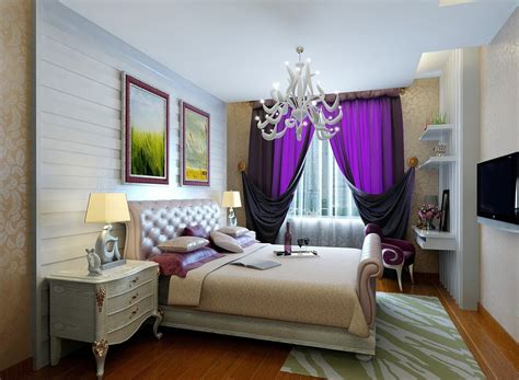 purple curtains for european style bedroom 3d house