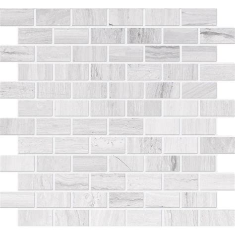 Home Depot Canada Marble Tile by Modamo Polished Wooden White Limestone Mosaic 1 Inch X 2