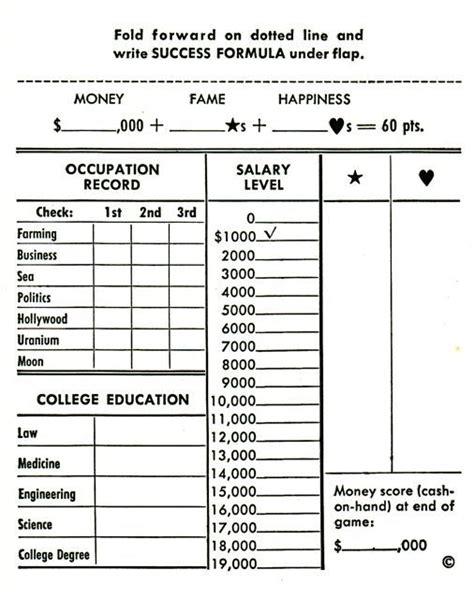 careersscoresheet careers board game score sheets