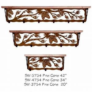 Decorative wall shelves with hooks : Decorative pine cones shelves with hooks for coats keys