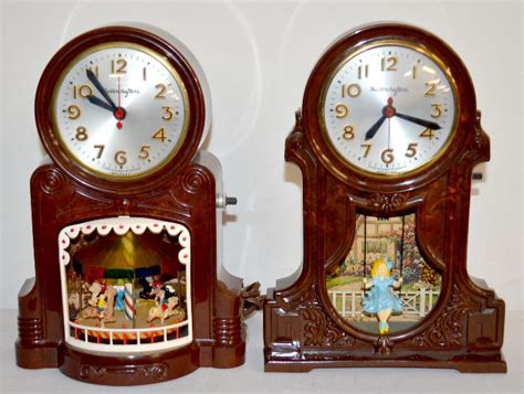 2 Vintage 1950's Mastercrafters Electric Animated Clocks