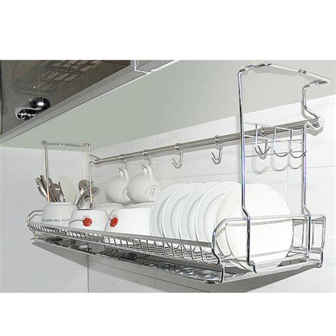 kitchen dish organizer stainless dish drying fixing rack ladle cup spoon shelf 1553