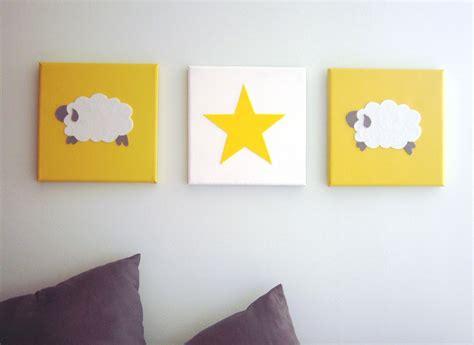 tableau triptyque pour chambre d 39 enfant mouton et étoile