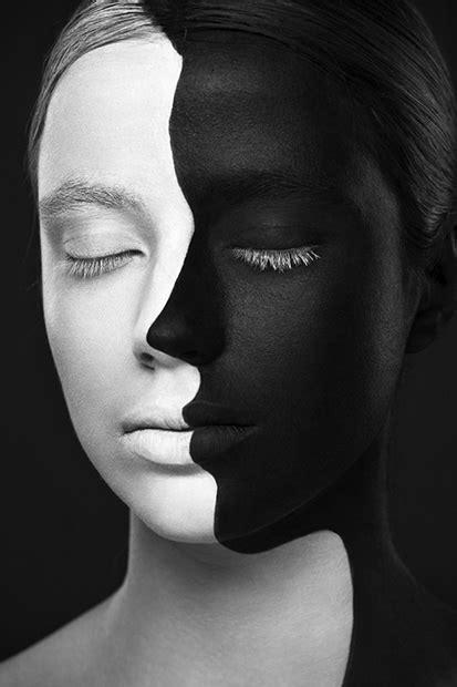 striking black  white portraits  art painted  faces
