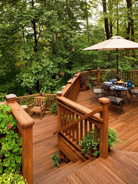 backyard wood deck floating decks outdoor design landscaping ideas porches decks patios hgtv
