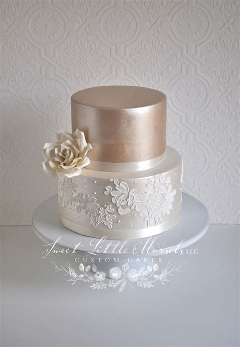 simple  tone champagne wedding cake cakecentralcom