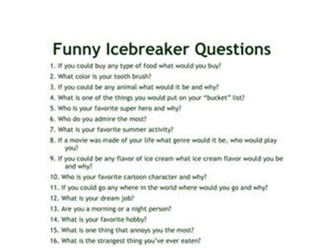 funny icebreaker questions ice breaker questions funny