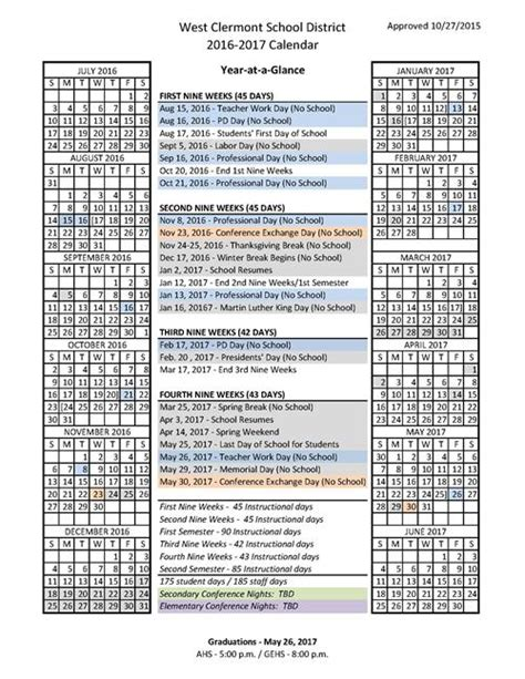 district calendars approved west clermont local