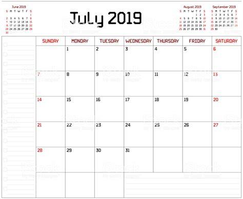 Ilustración De Calendario Planificador Mensual Para Julio