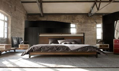Masculine bedroom furniture, industrial style bedroom
