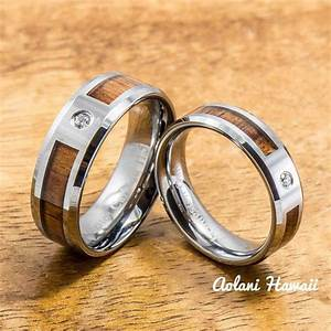 tungsten wedding band set of hawaiian koa wood tungsten With hawaiian style wedding rings