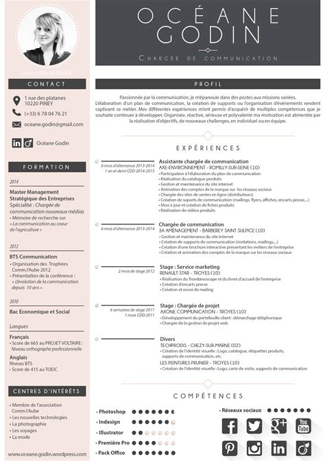 Modele Cv Professionnel 2015 by Cv Oc 233 Ane Godin Juillet 2015 Template Cv Free