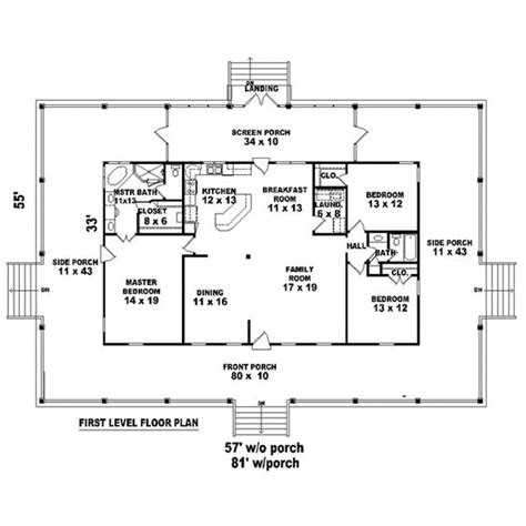 floor plans with wrap around porch country house plan 45764 wraps kitchens and house