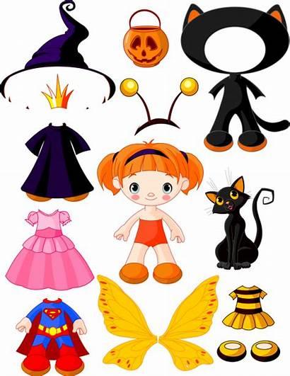 Halloween Paper Doll Vector Dolls Dresses Papel