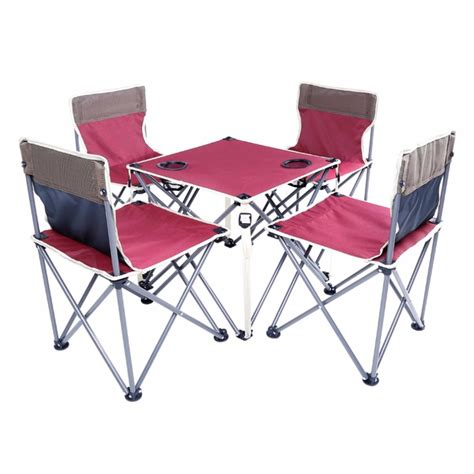 portable table and chairs portable folding beach table and chair five sets burgundy