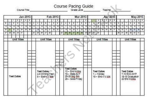 Pacing Calendar Template For Teachers by 2013 Semester Pacing Guide Planning Template Freebie