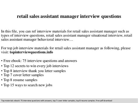 Assistant Manager Questions And Answers For Retail by Retail Sales Assistant Manager Questions