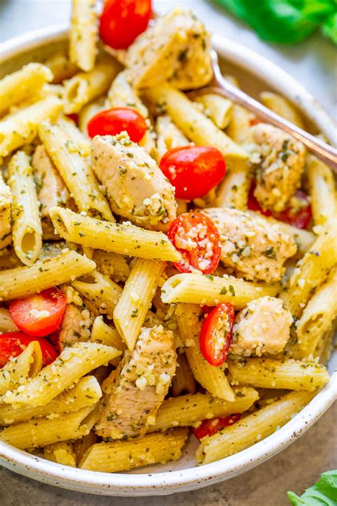 Finish the dish under the broiler to achieve a delicious melted cheese crust. Pesto Parmesan Chicken and Pasta - Averie Cooks