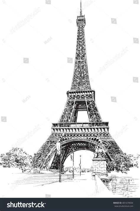 eiffel tower paris france hand drawing stock vector