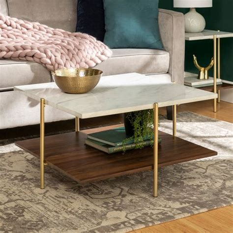 Free shipping and no sales tax. Square White Faux Marble & Gold Coffee Table (With images) | Gold coffee table, Marble tables ...