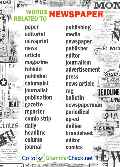 Journalism Vocabulary by List Words Related To Newspaper News Journalism