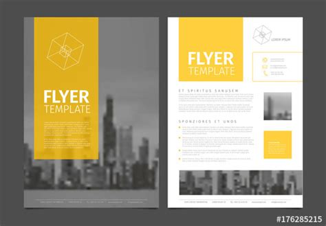 business flyer layout  yellow  gray accents buy