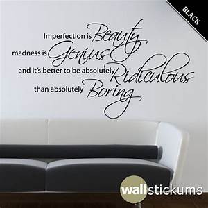 Marilyn monroe wall decal quote vinyl imperfection is beauty