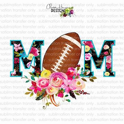 Sublimation Mom Football Transfer Floral Clover Sports