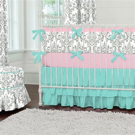 Teal And Grey Baby Bedding gray and teal damask crib bedding carousel designs