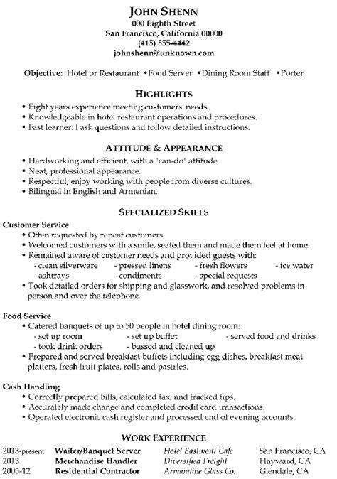 Server Skills For Resume by Resume Sle Food Server Dining Room Staff Porter